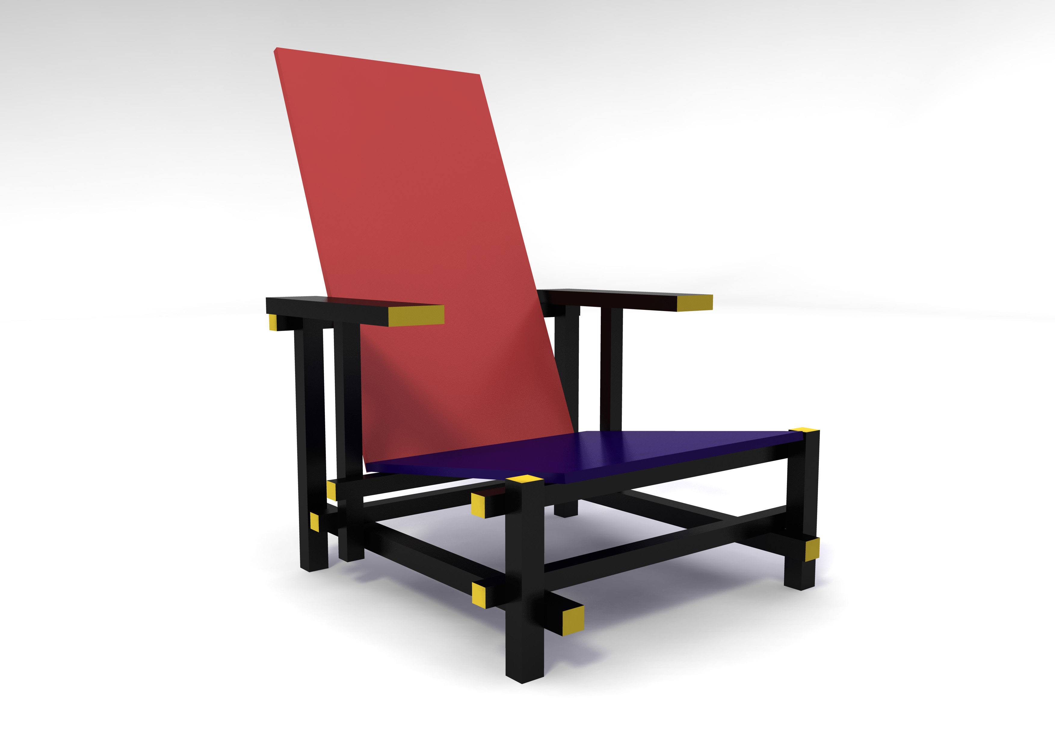 Gerrit rietveld chair - Red And Blue Arm Chair Inspired By Gerrit Rietveld Schroder